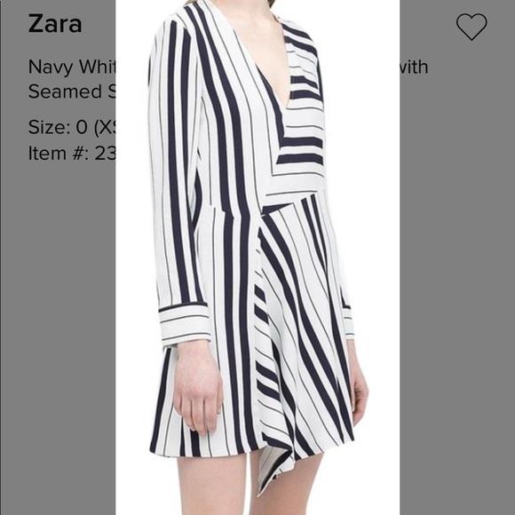 Zara Dresses & Skirts - Zara Navy and White Asymmetrical Dress XS